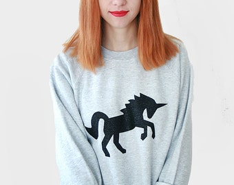 Black Glitter Unicorn Sweater