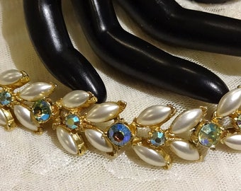 Vintage Florenza Faux Pearl Green AB Rhinestone Bracelet