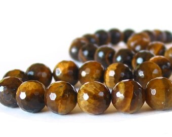 """15"""" 10mm Tiger Eye FACETED A grade round beads gemstone - Full or Half strand"""