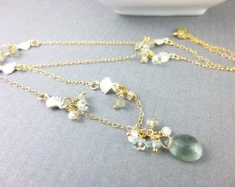 Moss Aquamarine Chakra Necklace, Art Deco Style, Spinel & Moss Aquamarine, Throat Chakra, Healing Energy Jewelry, Chakra Crystals