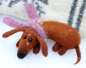RESERVED for Cindy. Needle Felted dachshund BROOCH. Dog felt brooch. Handmade Accessories for kids