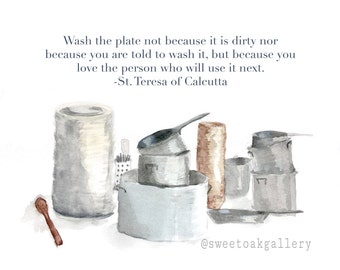 Photo paper print: Pots and Pans with St. Teresa of Calcutta Quote Watercolor Small Print 3.5x5, 4x6, 5x7, 8x10