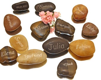 pebble with name engraved as favour favor for wedding christening every party Family celebration birthday engraved as desired name card ooak