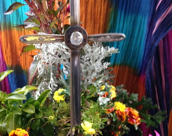 Silverware Cross Garden Stake