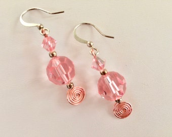 Pink Color Layered Swarovski Crystal Dangling Earrings Beaded Drop Earring Silver Plated Ear Wires Pink Wire Work Jewelry Accessories Women