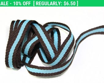 5 YARDS Black and Blue Stripes Gross Grain Trim Ribbon  0.4'' - for Crafts, Sewing , Accessories
