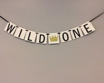 wild one banner, chipboard banner, first birthday banner, one banner