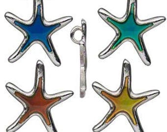 Color Changing Starfish Charm, Silver Base with top loop for pendants, charms or focals
