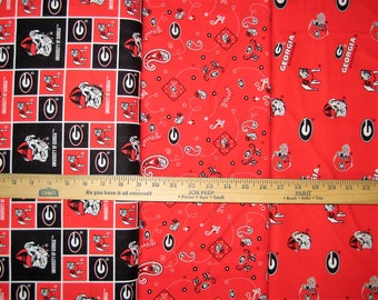 NCAA University of Georgia Bulldogs Red & Black College Logo Cotton Fabric by Sykel! [Choose Your Cut Size]