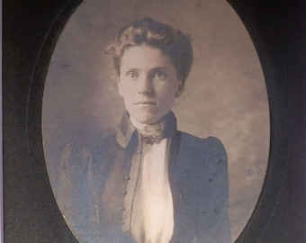 Cameo Style Cabinet Card Photo - Young Woman of the 1870's  --  #C14PGCRD007
