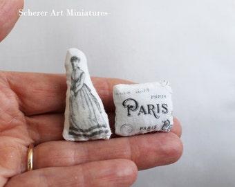 1:12 scale French Woman Pillow Paris Dollhouse Miniature