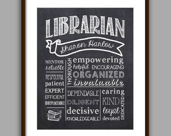 Librarian Gift, Librarian Chalkboard Style Printable, Librarian Christmas Gift,  School Librarian Thank You, Librarian Printable