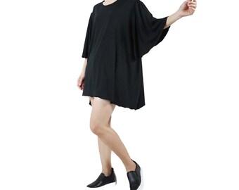 Funky Boho Minimalist Bell Sleeve Scoop Neck Black Rayon Jersey Flare Blouse Tunic Dress Tee Women Top - TN017