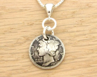 For 100th: 1917 Antiqued US Dime Necklace for 100th Birthday Gift Coin Jewelry