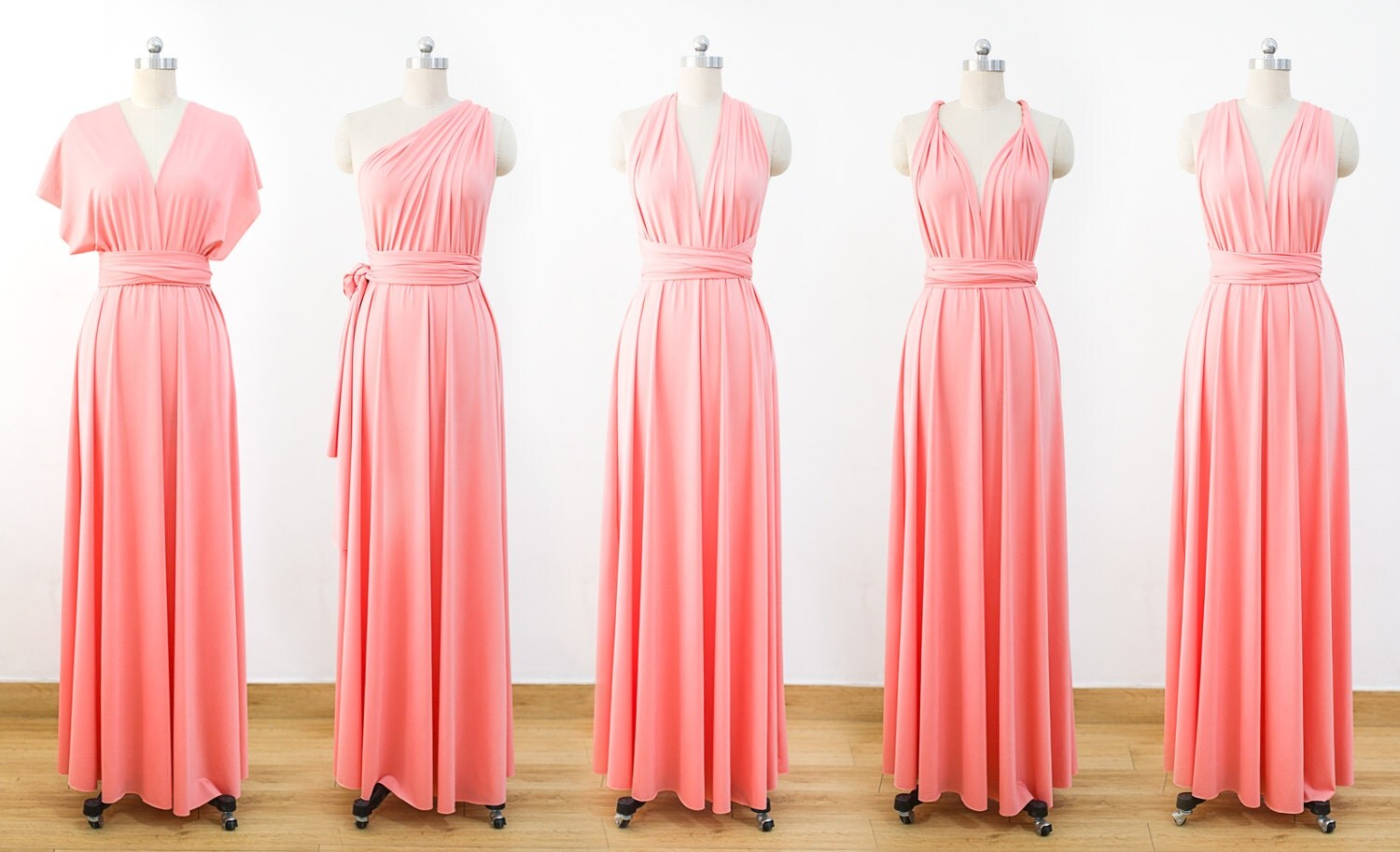 Coral Maxi Infinity Dress Convertible Bridesmaid Dress Cheap