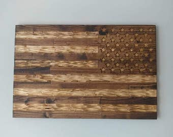 Chiseled USA military reversed rustic deployment flag.