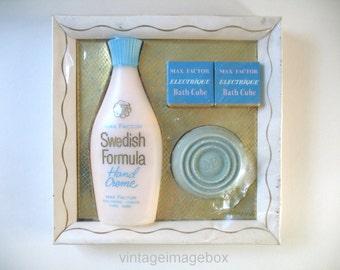 Vintage Max Factor toiletry set, Swedish Formula Hand Creme, Electrique Bath Cubes, Soap, 1960s-1970s toiletries