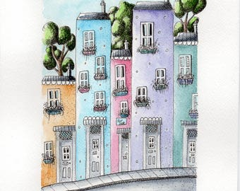 Ink and watercolour illustration, town houses, whimsical , original drawing, hand drawn, pen and ink, mixed media.