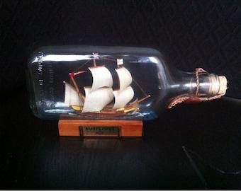 Vintage Collectible Tanduay Distillery Mayflower 1620 Ship in a Bottle / 1620 Mayflower Ship /