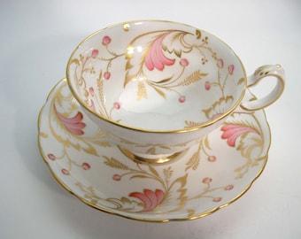 Rare Grosvenor Tea cup and saucer set, Grosvenor Lytham Hand Painted tea cup and saucer, Pink and Gold tea cup set..
