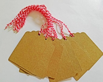 10 Hand Punched Kraft Gift Tags with Bakers String (Red or Green)