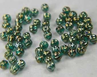 Czech pressed glass melon 5mm round beads luster iris Atlantis blue 50 beads