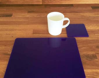 Rectangle Placemats or Placemats & Coasters - in Purple Gloss Finish Acrylic 3mm