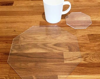 Octagon Shaped Placemats or Placemats & Coasters - in Clear Gloss Finish Acrylic 3mm