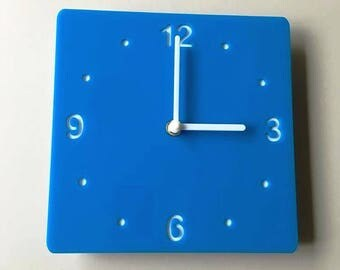 Rounded Corner Square Bright Blue & White Clock - White Acrylic Back, Blue Gloss Finish Acrylic with White hands, Silent Sweep Movement