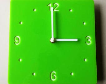 Rounded Corner Square Lime Green & White Clock - White Acrylic Back, Gloss Finish Acrylic with White hands, Silent Sweep Movement