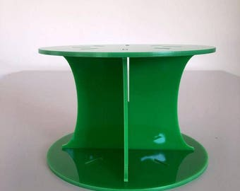 """Plain Round Bright Green Gloss Acrylic Cake Pillars / Cake Separators, for Wedding / Party Cakes 10cm 4"""" High, Size 6"""" 7"""" 8"""" 9"""" 10"""" 11"""" 12"""""""
