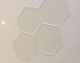 "Clear Gloss Acrylic Hexagon Crafting Mosaic & Wall Tiles, Sizes: 1cm to 20cm - 1"" to 7.9"""