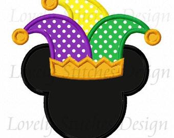 Mardi Gras Mouse Applique Machine Embroidery Design NO:0592