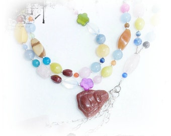 Buddha necklace with semi precious stones