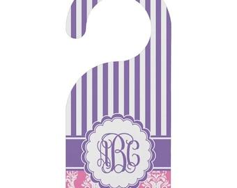 Pink & Purple Damask Door Hanger (Personalized)
