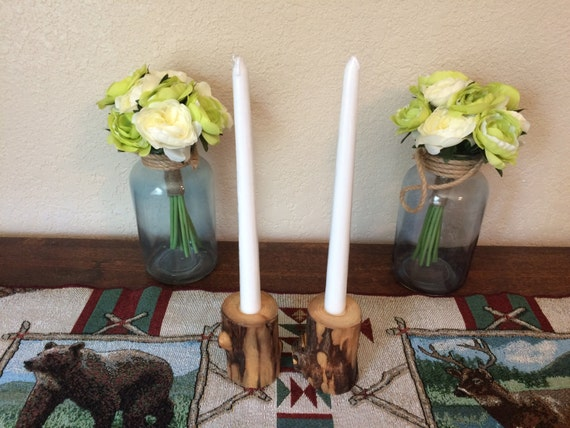 Set of 2 Rustic peeled Lodgepole Pine taper Candleholders!