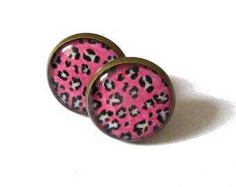 LEOPARD EARRINGS - PINK Leopard Print Earring - Leopard Stud - Post Earring - Leopard Jewelry - Leopard Accessories  - Leopard Gift Idea