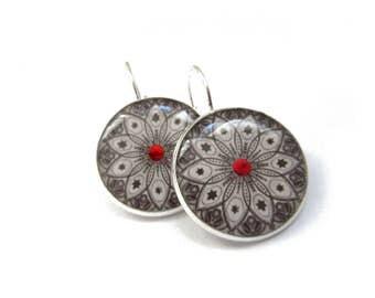 MANDALA DANGLE EARRINGS - Black and white earrings - ornament earrings - mandala jewelry - indian jewellery - gift for her