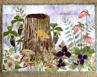 Hand painted fabric art quilt, wallhanging - Spring woods