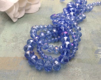 Crystal Beads / Faceted Crystal Beads / Faceted Crystal Rondelle Beads / 4x3 mm, 6x4 mm, 8x6 mm / Faceted Crystal Rondelles 4 mm, 6 mm, 8 mm