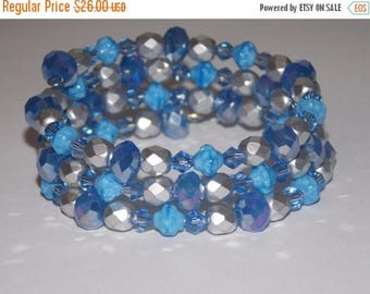 20%OFF Blue Rondelles with Matte Silver and Opaque Blue Czech Glass Wrap Bracelet