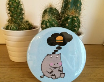 Hungry Hippo Pocket Mirror - funny hand mirror - cute animal stocking filler - small pun gift