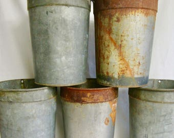 Sap Bucket  Vermont sap buckets metal pails rusty metal flower containers