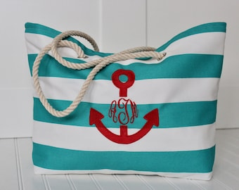 Monogrammed Beach Tote Bag Large Tote Bag Bridesmaid Gift