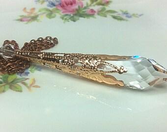 Clear Swarovski Crystal Pendant Necklace, Crystal Pendulum Pendant, Crystal Necklace, Icicle Necklace, Magic Pendulum, Wiccan, Pagan