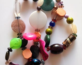 Necklace - colourful marbled plastic bead and metal bead long necklace great multi colour costume jewellery