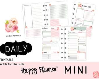 "MINI Happy Planner DAILY Insert Printable  Create365 | mambi | Me & My Big Ideas - PDF ""Modern Romance"""