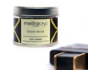 Oudh Musk Luxury Soy Scented Candle Tin