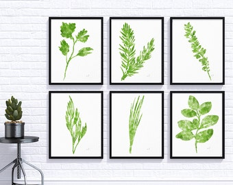Watercolor Herbs Prints, Set of 6  art prints, Herb Print, Herbs Kitchen Decor, Culinary Herb Print, Botanical Print, Kitchen Art Wall art