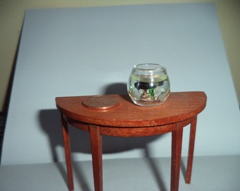 1:12 scale Dollhouse Miniature Black Gold Fish in Glass bowl